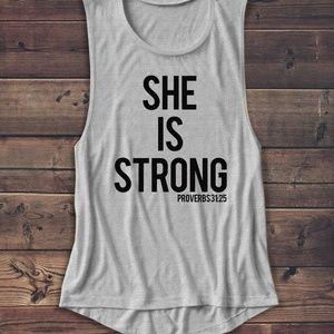 Tops - SHE IS STRONG MUSCLE TANK